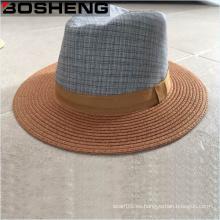 Venta al por mayor Brim Plano sombrero Fedora Sun sombrero con la corona de la tela