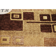 Gemotric Item Chenille Fabric with Brown and Camel