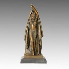 Dancer Bronze Sculpture Pretty Female Deco Brass Statue TPE-180