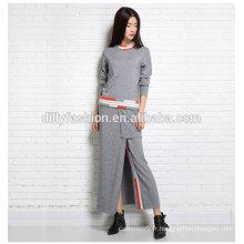Printemps / Automne dernières DesignCashmere Ladies Costumes manches longues chandail / jupe 2 pièces Womens Suit