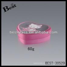 60г розовый крем для лица в форме сердца алюминиевые банки, алюминиевый косметические jar, косметической упаковки контейнера, баночки