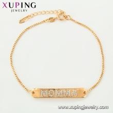 75124 Xuping bijouterie design d'intérieur fantaisie lettre gravée chaînes d'or bracelet