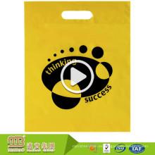 Logotipo material degradable promocional resistente que imprime bolsos de compras plásticos de encargo de Polythene con la manija