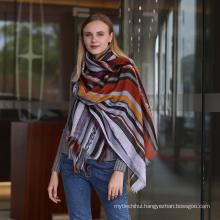 Fashion women custom design wholesale viscose cotton printed stripe women scarf
