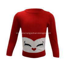 Girl's Knitted Happy Smile Jacquard Sweaters Cute Pullover