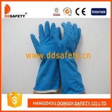 Blue Latex Spray Flock Lined Diamond Grip Beaded Cuff Household Working Gloves DHL426