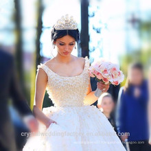 Elegant Alibaba China White Ball Gown Lace wedding Dresses Bridal Gown vestidos de novia with Heavy Pearls LWB09