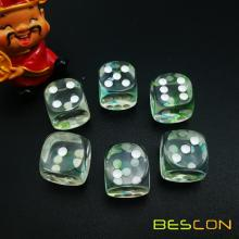 Two Tone Nebula Game Dice Set of 6, Crystal Clear avec la nébuleuse verte et bleue Six Sides Die 16MM, 6pcs Dice Set