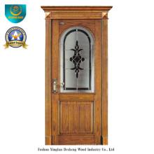 Puerta de madera maciza europea clásica con vidrio (ds-8022)