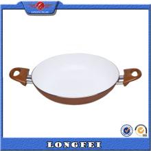 Non facile à poser Peinture blanche Double poignée Fry Pan