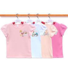 Custom 100% Cotton Cute Cartoon Kids Tshirt Manufacturer Girl Tshirt Age 2-14