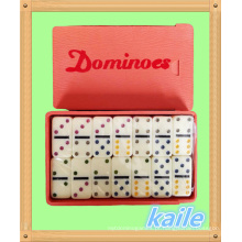 Duplo 6 pequeno dominó colorido em caixa de plástico