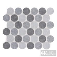 Denim Blue Round Fabric Druckglas Mosaikfliese