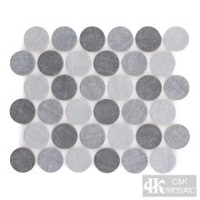 Denim Blue Round Fabric Printing Glass Mosaic Tile