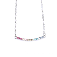 Panjia Colorful Love Arc Necklace S925 Silver Rainbow Sterling Silver Clavicle Chain Color Charm Necklace Pandora