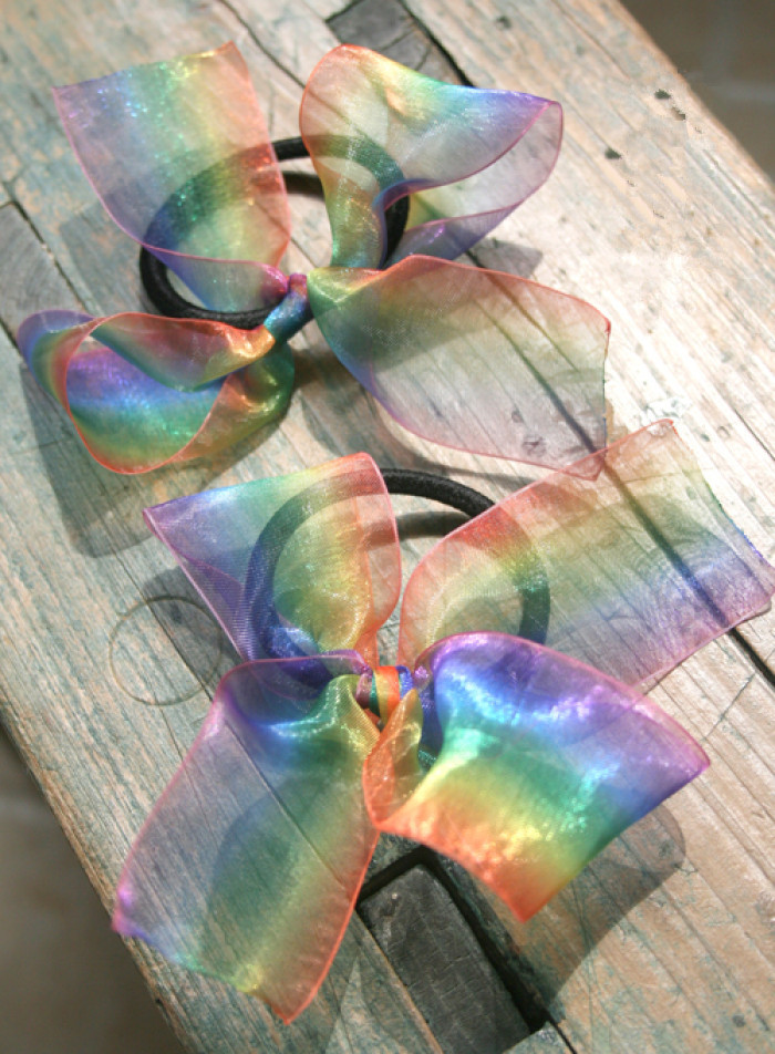 rainbow organza ribbon bow