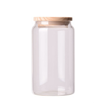 Borosilicate Hermetic Glass Storage Jar with Wooden Lid 1000ml Round Storage Glass Bamboo Glass Jar Set