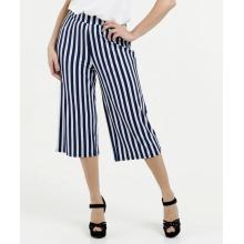 Lässige Frauenstreifen bedruckende Hose mit weitem Bein
