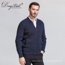 Homme hiver cardigan col roulé laine 12gg pull avec la meilleure mode de vente