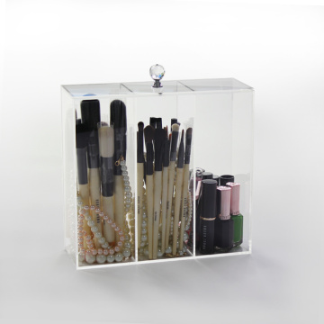 Akryl Makeup Brush Case-hållare med lock