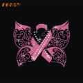 Butterfly Pink Ribbon Iron på Rhinestone Transfer