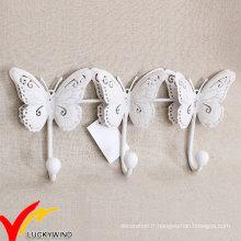 Crochets de papillons en métal antique triple blanc pour mur