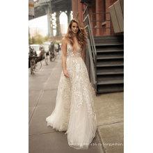 Глубокий V Шеи Кружева Вечерние Платья Свадебное Платье Свадьба Платье