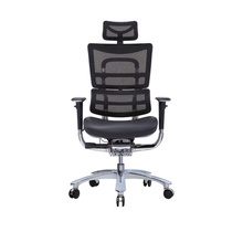 Leather Seating Mesh Chair with Tilting backrest for Office