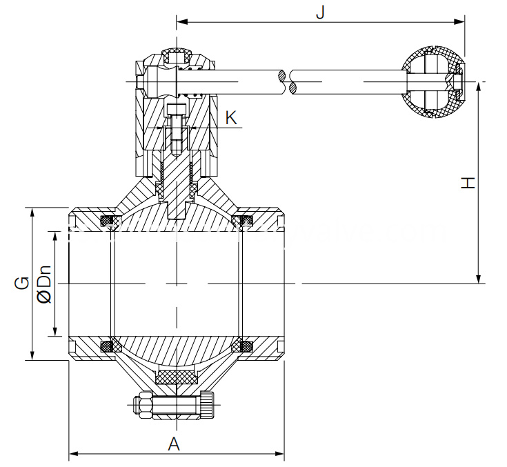 SMS Sanitary Manual Butterfly-type Ball Valve Male End