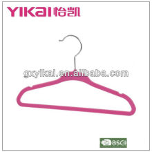 pink flocking baby clothes hangers with notches for strap
