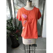 Orange glänzende bunte gedruckte Blumen-Damen-T-Shirt Kleidung