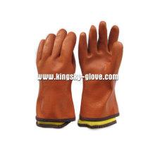 Orange vollständig Acryl ausgekleidet PVC / Gummi Winter Handschuh (5126)