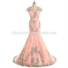 Rosa Farbe schwere Perlen Brautjungfer Kleid geschnürt Pfirsich Brautjungfer Kleid mit kleinen Zug