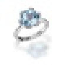 3.40CT 6 Prong Einstellung natürlichen Rosenquarz blauen Topas für immer Ringe 925 Sterling Silber für Frauen Braut edlen Schmuck