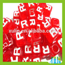 stock small wholesale red single letter cube beads