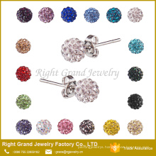 Crystal paved disco ball 6mm 8mm 10mm 12mm shamballa earring studs
