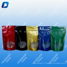 Thé coloré voir à travers des sacs avec fermeture à glissière / voir à travers la fenêtre