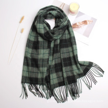 2021 New Arrived Winter Outdoor Warm Wraps Shawl Scarf Unisex Casual Stylish Plaid Tassel Cashmere Scarves