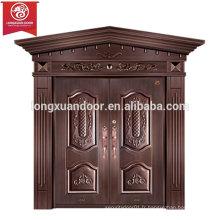 Portes d'entrée en façade personnalisées en usine, porte à double battante en cuivre