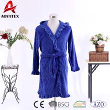 New style embossed coral fleece ruffle robe polyester women hooded bathrobe