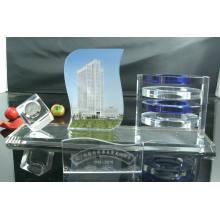 Horloge de table en verre de cristal moderne de mode avec haute qualité