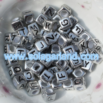 6MM Antique Silver Alphabet Cube Beads Single Letter Square Beads