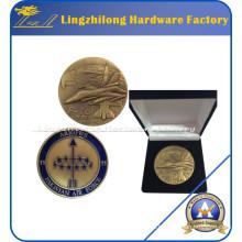 Moneda de recuerdo del tema del ejército personalizado F-16 con caja