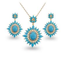 Blue Stone Copper Zircon Jewelry Fashion Gold Plated Jewelry Sets