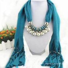 Fashion Women's Elegant Charm Tassels Rhinestone Decorated Jewelry Woman's Jeweled Grey pendant fashion Scarf