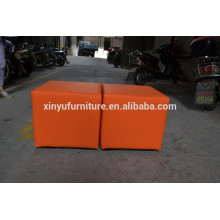 Durable orange leather cover ottoman XYN456