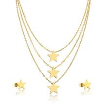 24K Gold Plated Hight Qualität Mädchen Sterne geschichteten Halskette Schmuck-Set