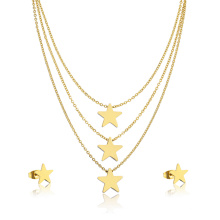 24K Gold Plated Hight Quality Girl Star Layered Necklace Jewelry Set
