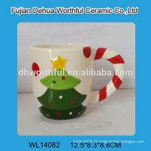 Copo de cerâmica com padrão de árvore de Natal sem tampa