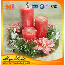 Bougie différente de Noël de pilier de tailles avec des accessoires d'usine